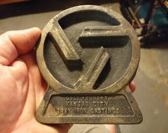 Vintage Colt Foundry Kansas City Gray Iron Castings Ashtray or Advertising Trivet
