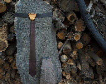Wood and Leather Skinny Tie for Children- Brown Smooth