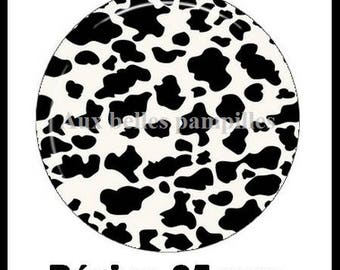 Round cabochon resin 25 mm - cow pattern craft (1941) - animals