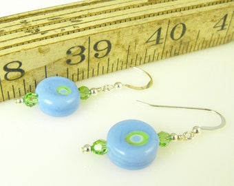 SALE! Small Sky Blue and Green Earrings Lampwork Glass Bead Earrings Pastel Handcrafted Jewelry for Spring for Easter for Mother's Day Gift