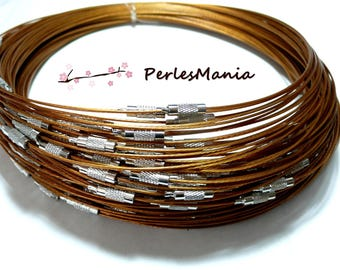 10 NECKLACES turns of the neck rigid wire 1 mm CARAMEL colored 7 ref 6