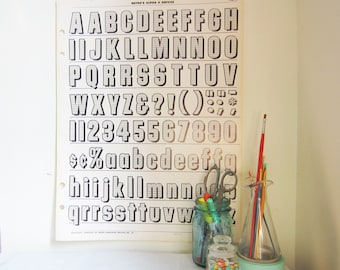 Vintage Typography Wall Poster - Upper and Lower Case Alphabet Numeral Punctuation