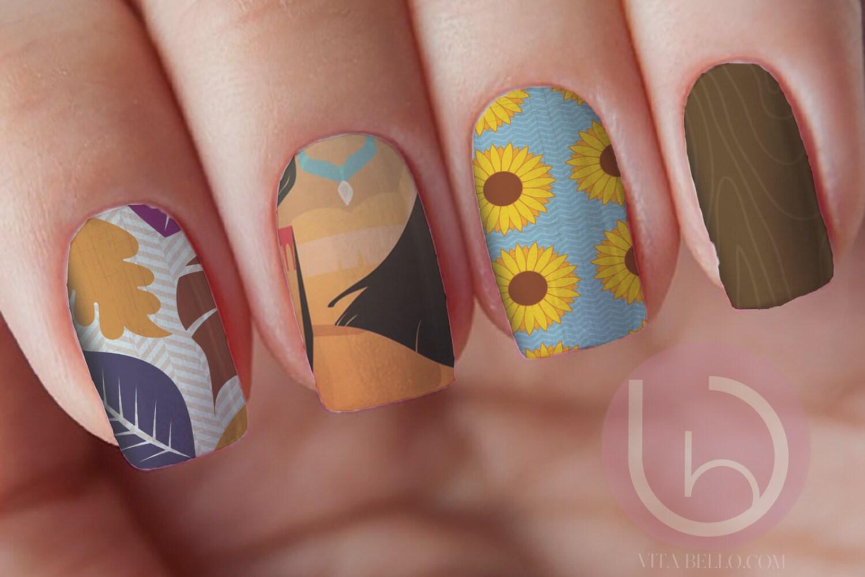Pocahontas Waterslide Nail Decal, Nail Design, Nail wrap, Nail Art ...