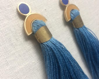 Arc and Tassel earrings in blues a marigold yellow