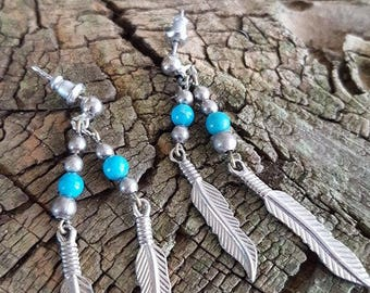 Metal Feather and Turquoise Beaded Earrings