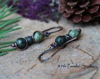 Green Serpentine Earrings, Copper Earrings, Green Gemstone Earrings, Serpentine Jewelry, Beaded Earrings, Copper Jewelry, Green Serpentine