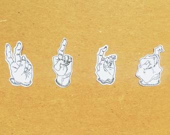 Hand Gesture Sticker Set - 8 pieces