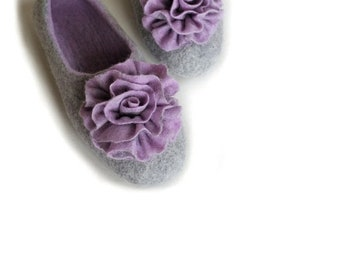 SPRING SALE Handmade wool felted slippers with rubber soles - house shoes
