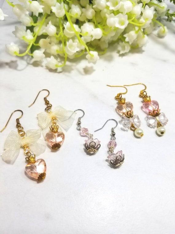Dainty hearts pastel earrings set of three (pinks)
