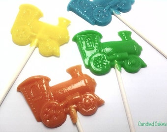 12 OPAQUE TRAIN LOLLIPOPS - Hard Candy