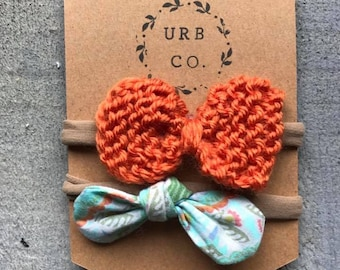 Floral and Knit bow infant headband set