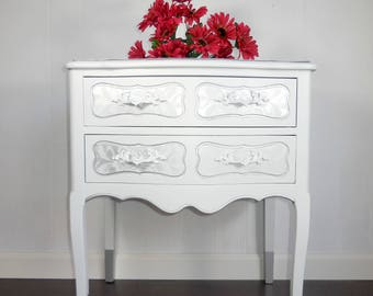 SOLD!  White French Provincial nightstand