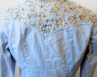 """Retro 1970s Sequined Denim Western Shirt Jacket 34"""" Bust Pearl Snaps"""