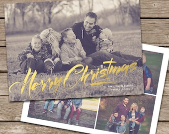 Photo Christmas Card Template: Gold Foil Faux Effect Merry Christmas and Collage Back Custom Photo Holiday Card Printable