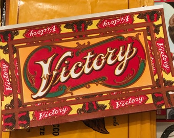 Vintage Cigar Box Label Victory Antique Ephemera WWII