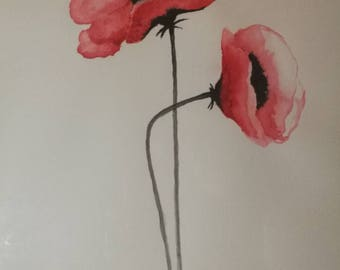 Watercolor painting Poppy / watercolor plant