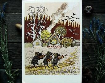 Sheep - Illustrator Y. Vasnetsov - Vintage Soviet Postcard, 1985. Violin Village Animals Fairy tale Art Print Card