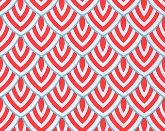 Coral Red & Turquoise Scallop Fabric by the Yard Designer Indoor or Outdoor Fabric Curtain Fabric Upholstery Fabric Home Decor Fabric B227