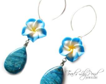 Plumeria Jewelry | Hawaiian Flower Earrings | Blue Flower Earrings | Plumeria Earrings  with Agate Gemstone | Blue Drop Earrings