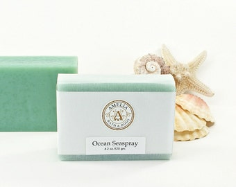 Ocean Seaspray Soap   Ocean Air Scent, Cold Process Soap, Handcrafted Soap, Luxury Beach Soap, Vegan, Bright Airy Fresh Beach Floral Scent