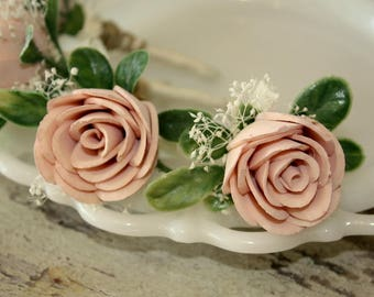Blush pink boutonniere, grooms flower, pin on sola wood flower, blush wedding flowers, groomsmen, ecoflower, wooden lapel flower