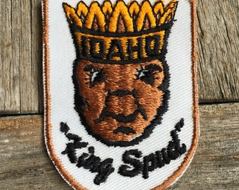 "Idaho ""King Spud"" Vintage Souvenir Travel Patch from Voyager - New In Original Package"