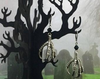 Claw Earrings, Raven Claw Earrings, Witch Earrings, Talons, Gothic Earrings, Steel Ear-wires