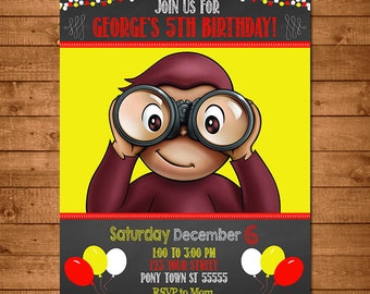 Curious George Invitation Chalkboard Theme -- Curious George Invite -- Curious George Birthday