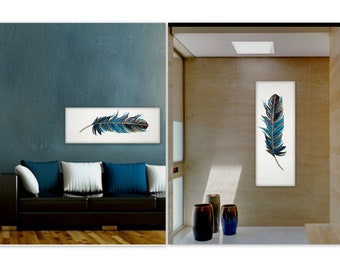 """Textured Original Abstract feather Painting """"Dreamweaver"""" contemporary wall art 40x16 by Holly Anderson Ships Free within the USA"""