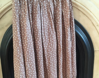 SHOP CLOSING SALE Light Brown Midi Skirt with White Polka Dots