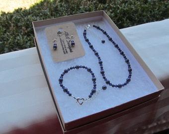 Flower Girl Jewelry Dark Purple Swarovski Pearls and Purple Velvet Crystals Bridal Jewelry Set