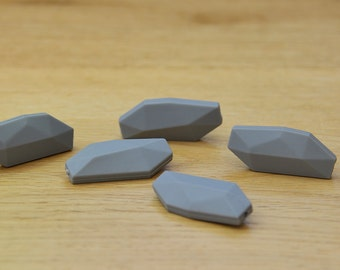 Silicone beads/GREY 40mm Long, geometric silicone beads, BPA Free silicone beads, 5 pack