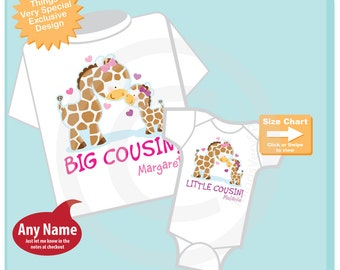Set of Two Personalized Big Cousin, Little Cousin Giraffes Shirt and Onesie Big Girl Cousin and Little Girl Cousin Onesie (07092014c)