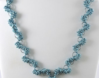 Chainmaille Necklace, Blue Chainmail Necklace, Coiled Chainmail, Chain Mail Jewelry