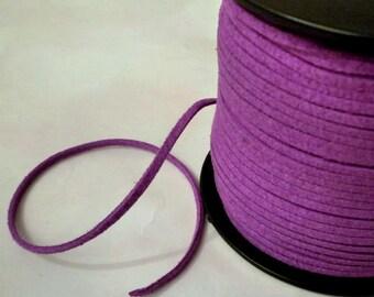 2 meters - 3x1.5mm - purple suede thong cord