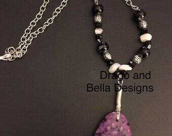 Charoite stone necklace