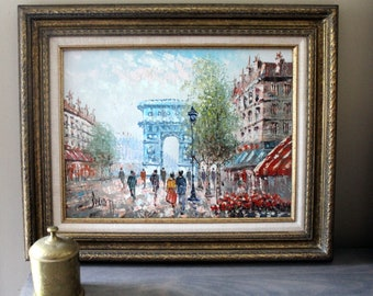 Vintage Gold Framed Oil Painting on Canvas Paris Scene Art by Caroline Burnett Impressionism French Street Champ D'Elysee Arc de Triomphe