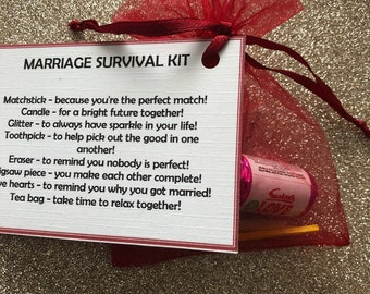 MARRIAGE personalised survival kit, keepsake, novelty gift, his and hers gift, anniversary gifts, wedding gift, wedding favours,