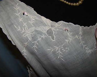 Very sweet Edwardian Chemise/ night gown, hand made with embroidered lace around the neck .
