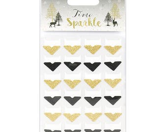 Glitter Photo Corners - Gold and Sparkley Black - Dovecraft Time To Sparkle Christmas - 24 Self-Adhesive - Journals Scrapbook