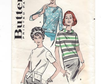 1960s Butterick 8786, Quick 'N Easy Overblouse, Back Buttoned, 3 Neckline Options, Vintage Sewing Pattern, Size 14 Bust 34