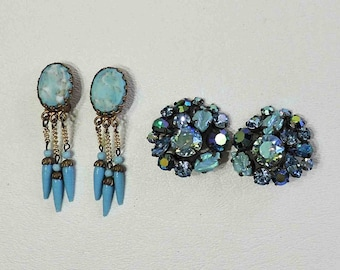 Vintage Clip On Earrings In Blue