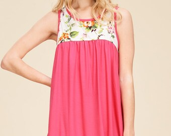 Color Block Sleevless Floral Tops