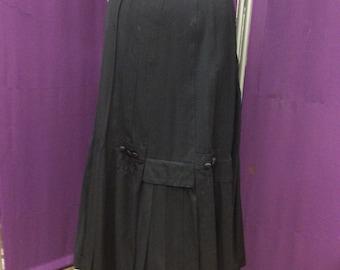 Brilliantly Pleated 1910 Wool Gabardine Skirt