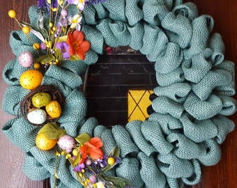 Spring Wreath, Easter Wreath, Floral Wreath, Easter Eggs, Spring, Easter, Burlap Spring Wreath, Turquoise, Nest Wreath, Blue Wreath