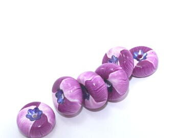 6- violet blueberry boho rondelle beads for DIY jewelry, unique hand rolled ombre millefiori polymer clay beads