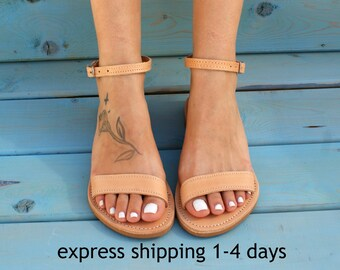 ELPIS leather sandals/ Ancient Greek leather sandals/  classic leather sandals/ handmade sandals/ natural leather sandal/ strappy sandals