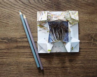 origami picture frame made of old maps