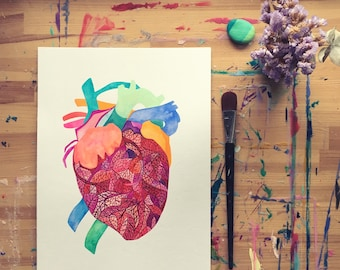 "Original watercolor painting, ""Le coeur IV"", 2017"