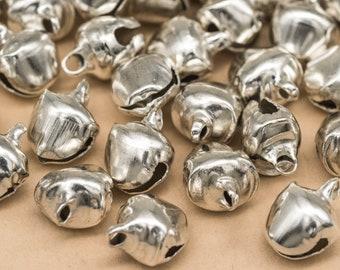 Silver  Bells, 100 pcs, 7mm,   Metal Bells, Dancing Bells, Bells, Jingle  Bells -B2173